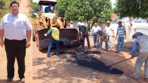 Arceno determina operação tapa-buracos em ruas Gloria de Dourados