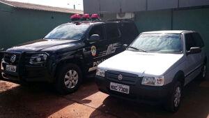 Policiais Civis do Núcleo de Inteligência e SIG recuperam em Fátima do Sul Uno furtado em Naviraí