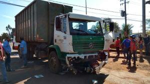 Motociclista morre ao ser atropelado por caminhão na região da Cabeceira Alegre em DOURADOS