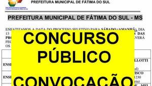 Veja a lista ATUALIZADA dos nomeados pela prefeitura em concurso público em FÁTIMA DO SUL
