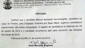 VICENTINA: Boatos maldosos que candidato do PMDB estaria preso e com candidatura cassada é mentira