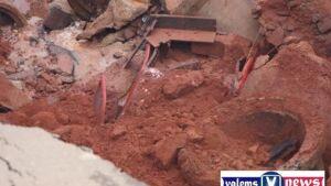 Veículo é engolido por cratera feita pelas chuvas com duas pessoas dentro em Novo Horizonte do Sul