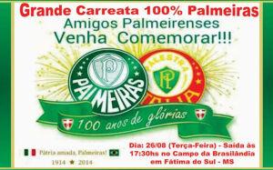 Torcida do Palmeiras fará carreata nesta terça para comemorar centenário em Fátima do Sul