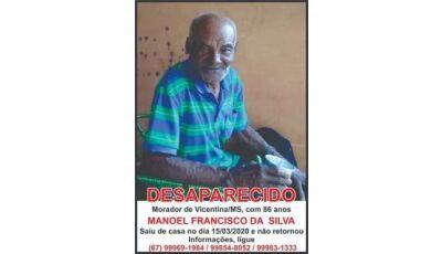 Desaparecido há 73 dias, família não perdeu a esperança de encontrar seu Manoel em Vicentina