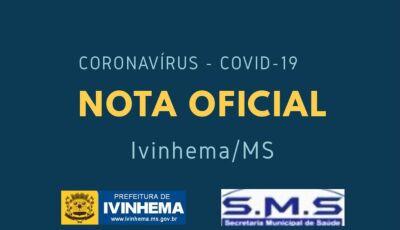 Saúde confirma 3º caso de coronavírus em Ivinhema