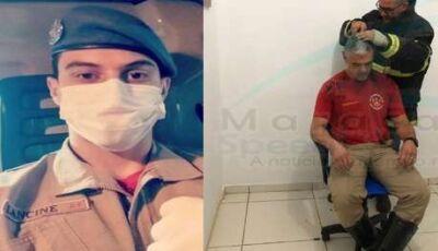 Bombeiros raspam o cabelo em apoio a soldado com câncer em Maracaju