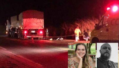 Acidente entre carreta e moto mata empresária douradense e primo em Naviraí