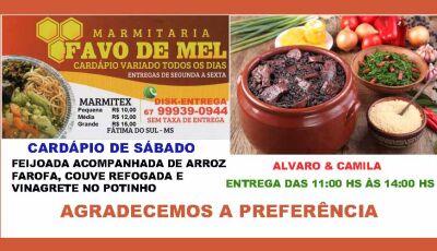 Marmitaria Favo de Mel terá feijoada neste sábado, 18, em Fátima do Sul