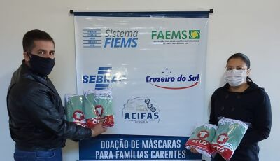 VICENTINA: Secretaria de Assistência Social recebe doação de 200 máscaras da ACIFAS