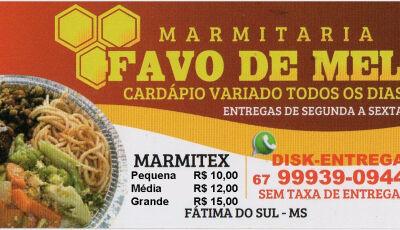 Marmitaria Favo de Mel volta a atender normalmente nesta 2ª feira em Fátima do Sul