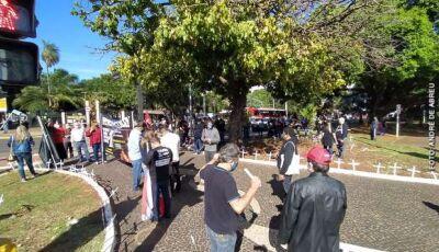 Ato Fora Bolsonaro da Capital tem 'canteiro de cruzes' representando mortos pela covid-19
