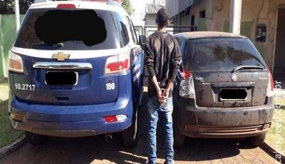 Polícia Militar recupera veículo Fiat Palio furtado e autor de furto é preso em Fátima do Sul