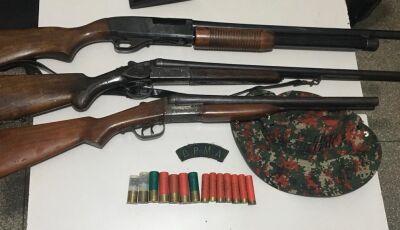 Acampamento de caçadores é descoberto e armas de caça de grosso calibre são apreendida em Deodápolis