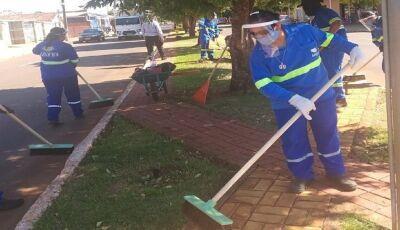 Reeducandas retomam trabalho de limpeza urbana com adoção de medidas preventivas em Jateí