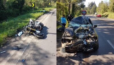 Gloriadouradense sofre grave acidente entre moto e carro na BR-282, Oeste de Santa Catarina