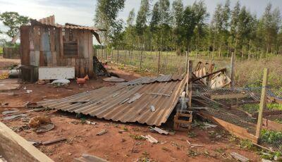 VICENTINA: Torre de celular caiu e casas destruídas pelo vendaval em Vila Rica, VEJA MAIS FOTOS