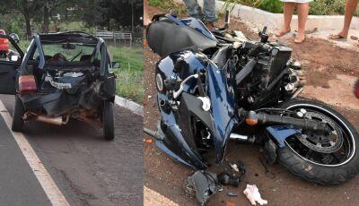 Forte acidente deixa motociclista em estado grave na saída de Glória de Dourados para Jateí