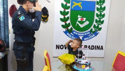 PM de Nova Andradina realiza sonho de criança de cinco anos