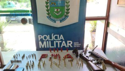 Caçadores são presos com 300 kg de carne, armas com 138 munições em MS