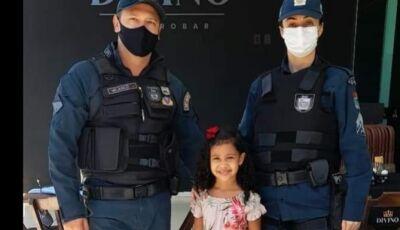 Garotinha de 05 anos que sonha ser PM conheceu Policiais Militares de Glória de Dourados