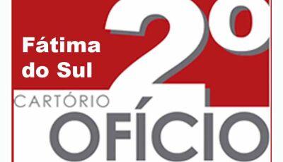 Cartório do 2º Oficio de Fátima do Sul-MS informa o Edital de Proclamas