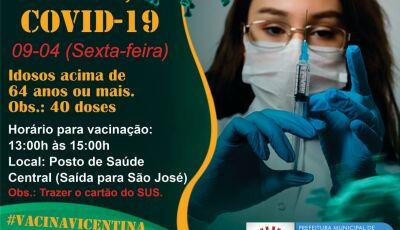 VICENTINA: Vacinação nesta sexta de 64 anos ou mais e sábado 2ª dose aos que vacinaram dia 13/03
