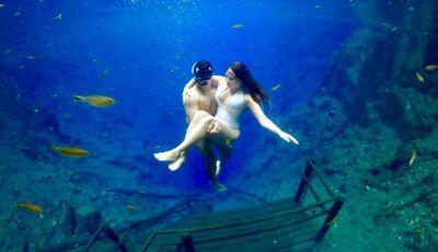 'Escada mais famosa' de MS vira cenário para turistas durante mergulho e viraliza, ASSISTA