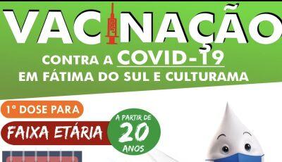 VACINA NO BRAÇO: Partir de 20 anos serão vacinados nesta terça-feira em Culturama e Fátima do Sul