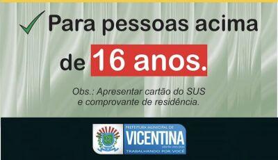 Vicentina vacina Covid de 16 anos acima nesta segunda-feira, veja local e horário