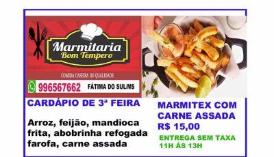 Marmitaria Bom Tempo com um delicioso cardápio nesta terça feira com Churrasco