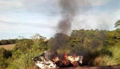 Carro bate em carreta cegonha, pega fogo e motorista morre carbonizado