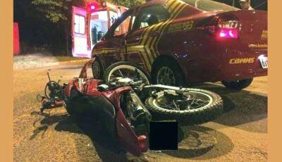 Viatura do Corpo de Bombeiros de Fátima do Sul se envolve em acidente em Ivinhema