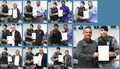 Pelotão da Força Tática de Fátima do Sul foi homenageado pelo Legislativo de Deodápolis