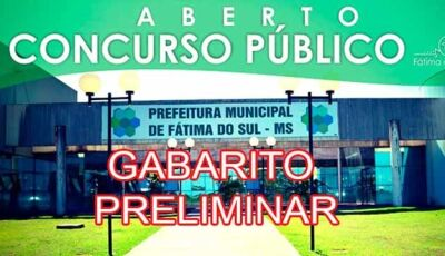 Divulgado o Gabarito Preliminar do concurso público da Prefeitura de Fátima do Sul