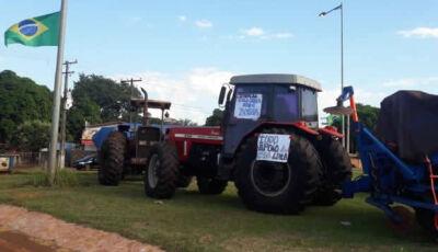 Indígenas iniciam manifesto em rodovia entre Dourados e Itaporã em apoio aos caminhoneiros