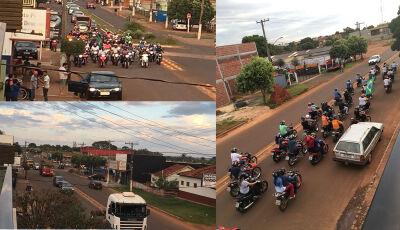 Ao som do Hino Nacional, população e caminhoneiros fazem 'buzinaço' em Fátima do Sul