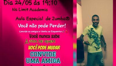 Hoje tem aula de zumba gratuita com Alexandre Sorriso na Limit Academia em Fátima do Sul