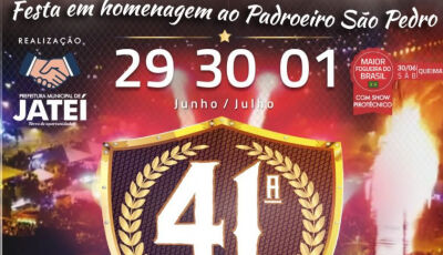 Com entrada franca, Eraldo anuncia os shows e programação da Festa da Fogueira em Jateí