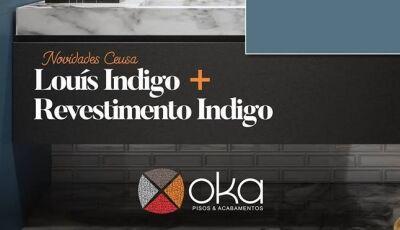 Revestimento acetinado Louís Indigo possui detalhes em ouro é destaque na OKA de Dourados