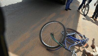Acidente envolve caminhão e ciclista em Glória de Dourados