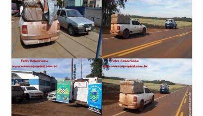 PM em apoio a Força Tática apreende três veículos carregados de cigarros e insumos agrícolas contrab