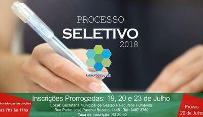 Prefeitura de Fátima do Sul prorroga prazo das inscrições do Processo Seletivo