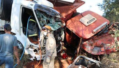 IVINHEMA: Colisão entre caminhões deixa homem preso às ferragens por duas horas (VÍDEO)