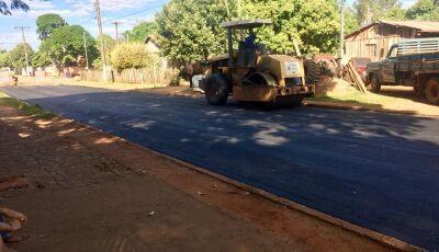 Em parceria com Governo do MS, pavimentação asfáltica chega no distrito de Nova Esperança em Jateí
