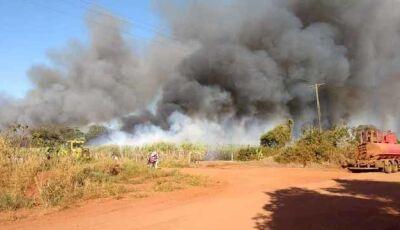 Incêndio de grandes proporções atinge canavial no município de Batayporã