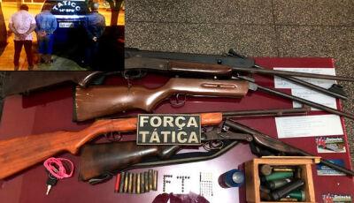 Força Tática apreende arsenal de armas na 6° linha em Glória de Dourados