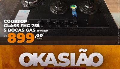 OKA Pisos e Acabamentos destaca o Cooktop Franke Glass FHG 755 5 bocas, oferta até este sábado (25)