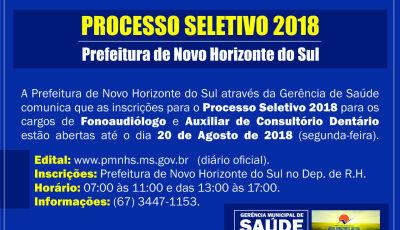 Prefeitura abre inscrições para processo seletivo em Novo Horizonte do Sul