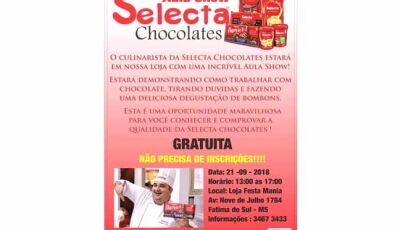 Festa Mania realizará Aula Show Selecta Chocolates gratuíta em Fátima do Sul