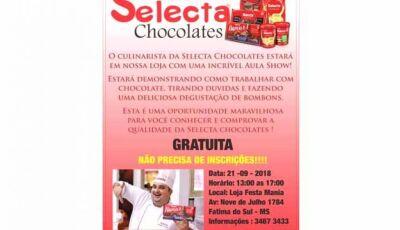 Festa Mania realiza hoje Aula Show Selecta Chocolates gratuíta em Fátima do Sul